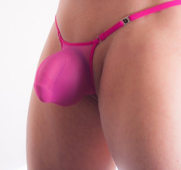 COCK- BAG String semi transparent magenta
